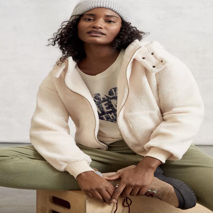 model wearing fleece jacket