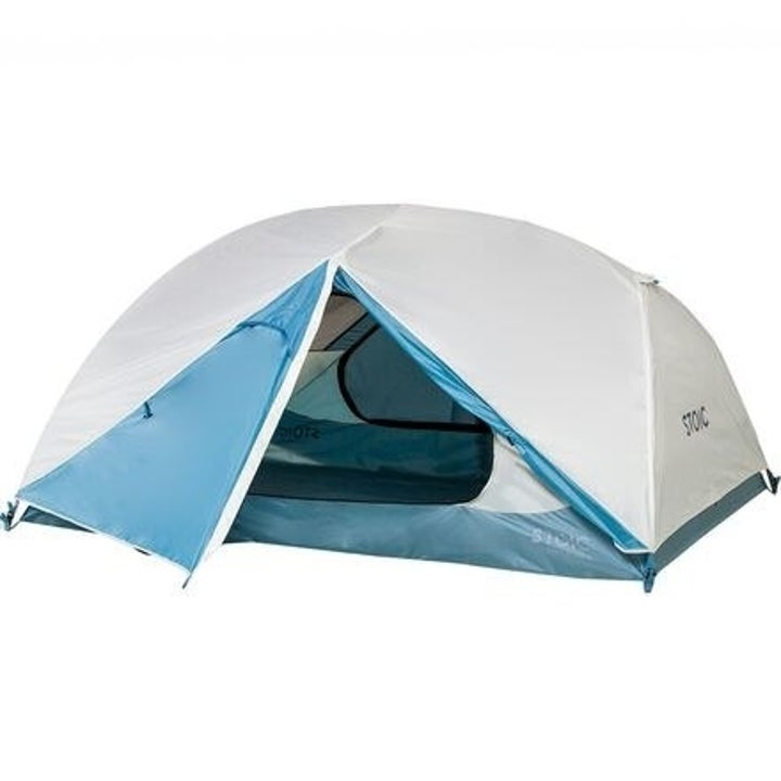 white and blue dome-shaped camping tent