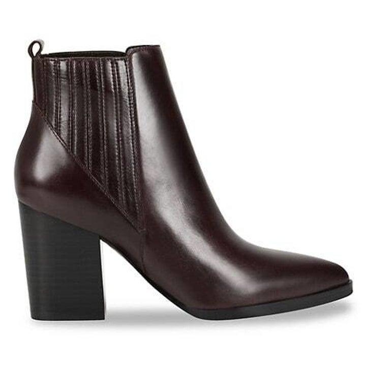 Dark brown booties with two-inch black heel