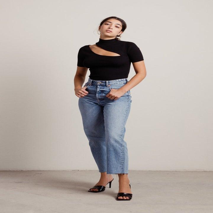 model wearing the black cutout top