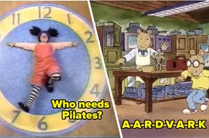Loonnette doing the clock stretch side by side with Arthur singing A-A-R-D-V-A-R-K