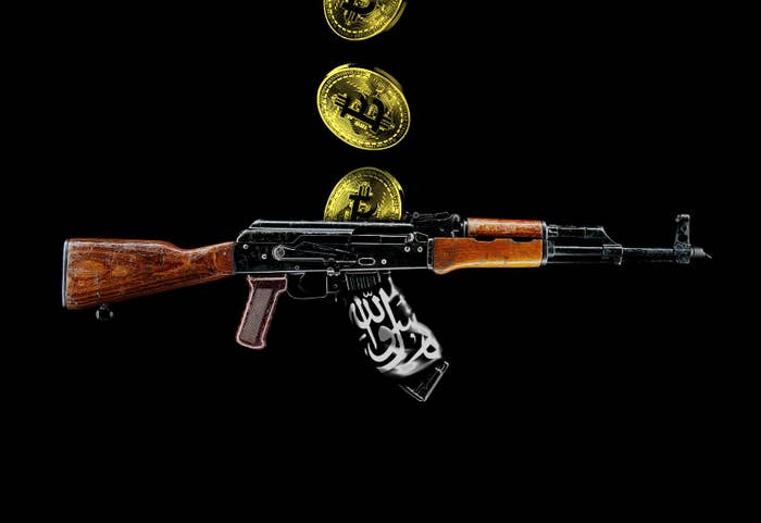 An illustration of bitcoins and an assault rifle with an ISIS flag wrapped around it