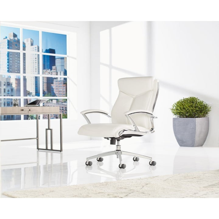 white office chair with wheels
