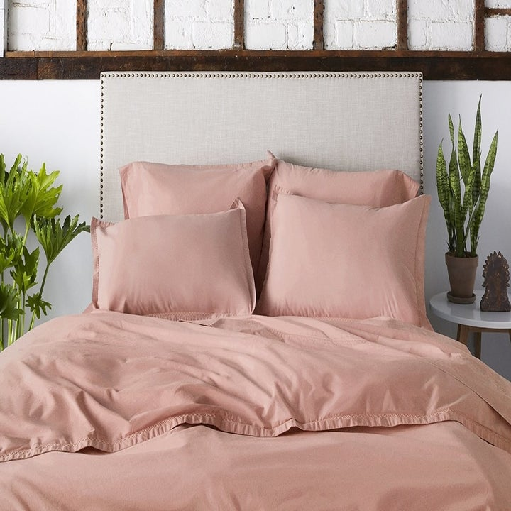 rose pink duvet and pillow covers