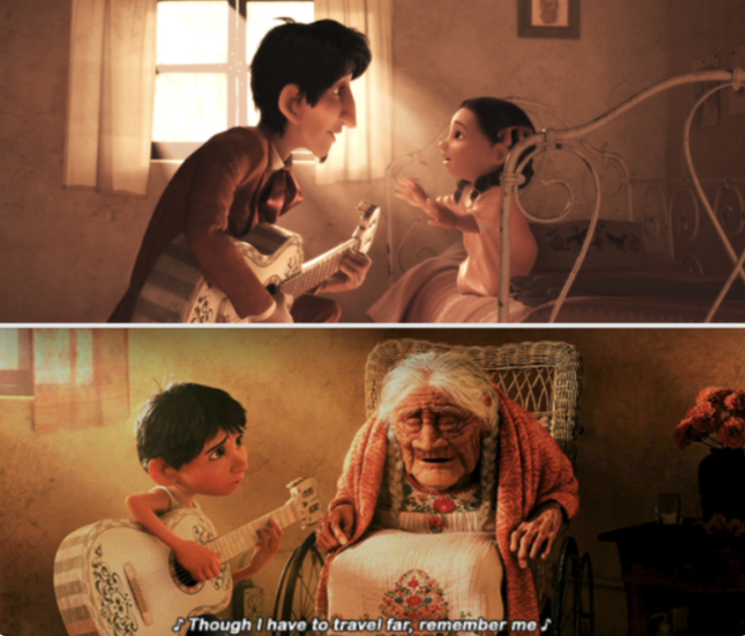 Miguel playing his grandfather's song for Coco