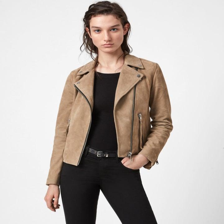 model wearing the tan suede jacket