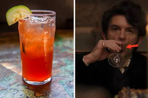 """A cocktail glass is on the left with Anthony from """"Bridgerton"""" sipping on the right"""