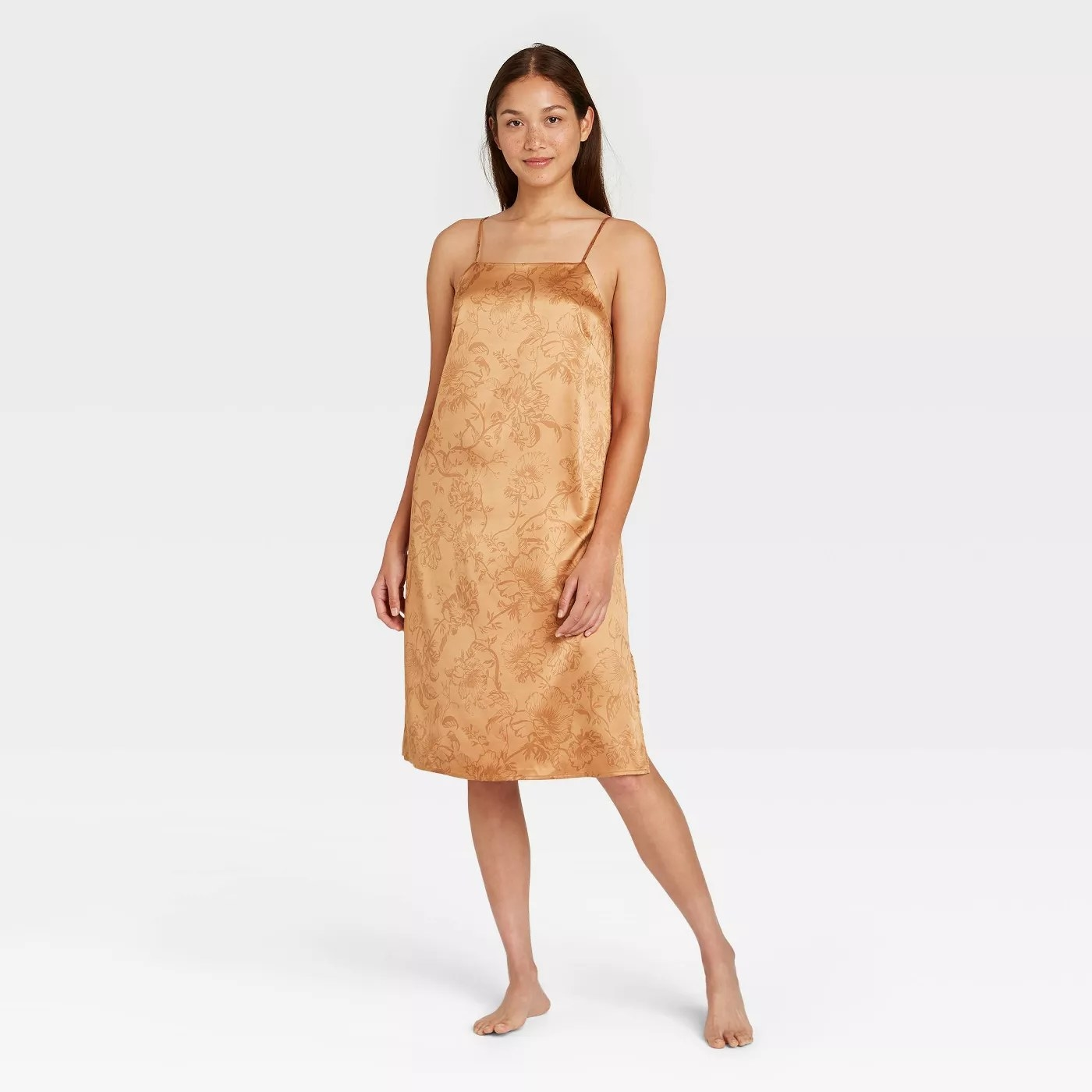 The gold satin nightgown