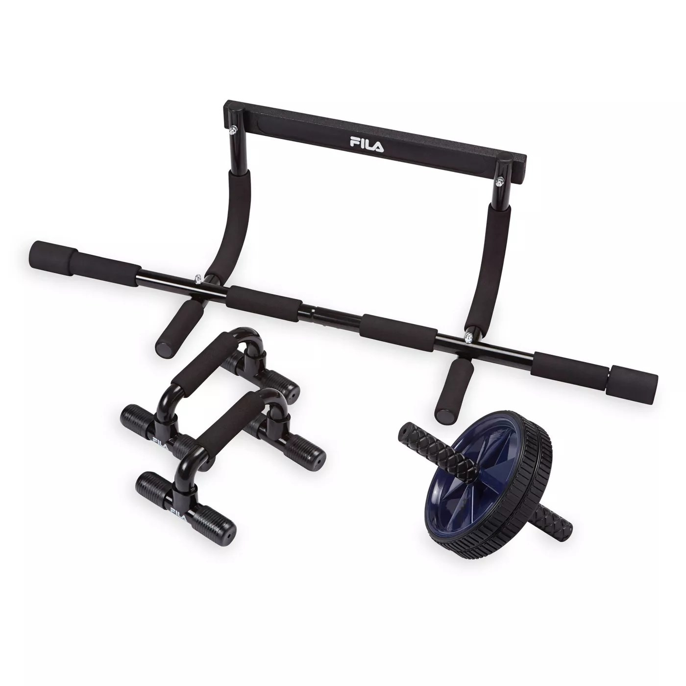 A set of equipment with pushup handles, a roller, and a bar