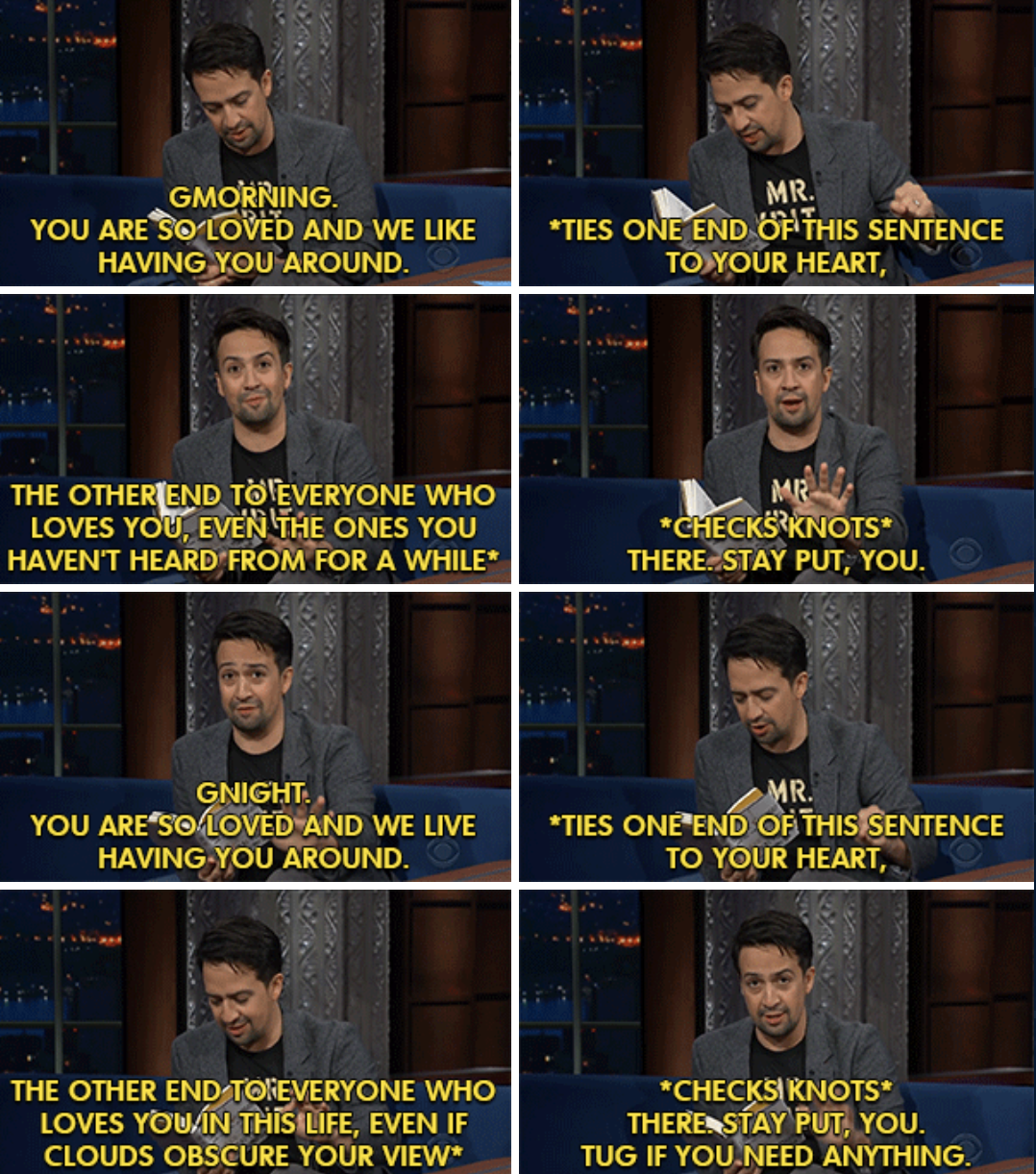 """Lin-Manuel Miranda reading from his """"Gmorning, Gnight!"""" book on """"The Late Show with Stephen Colbert"""""""