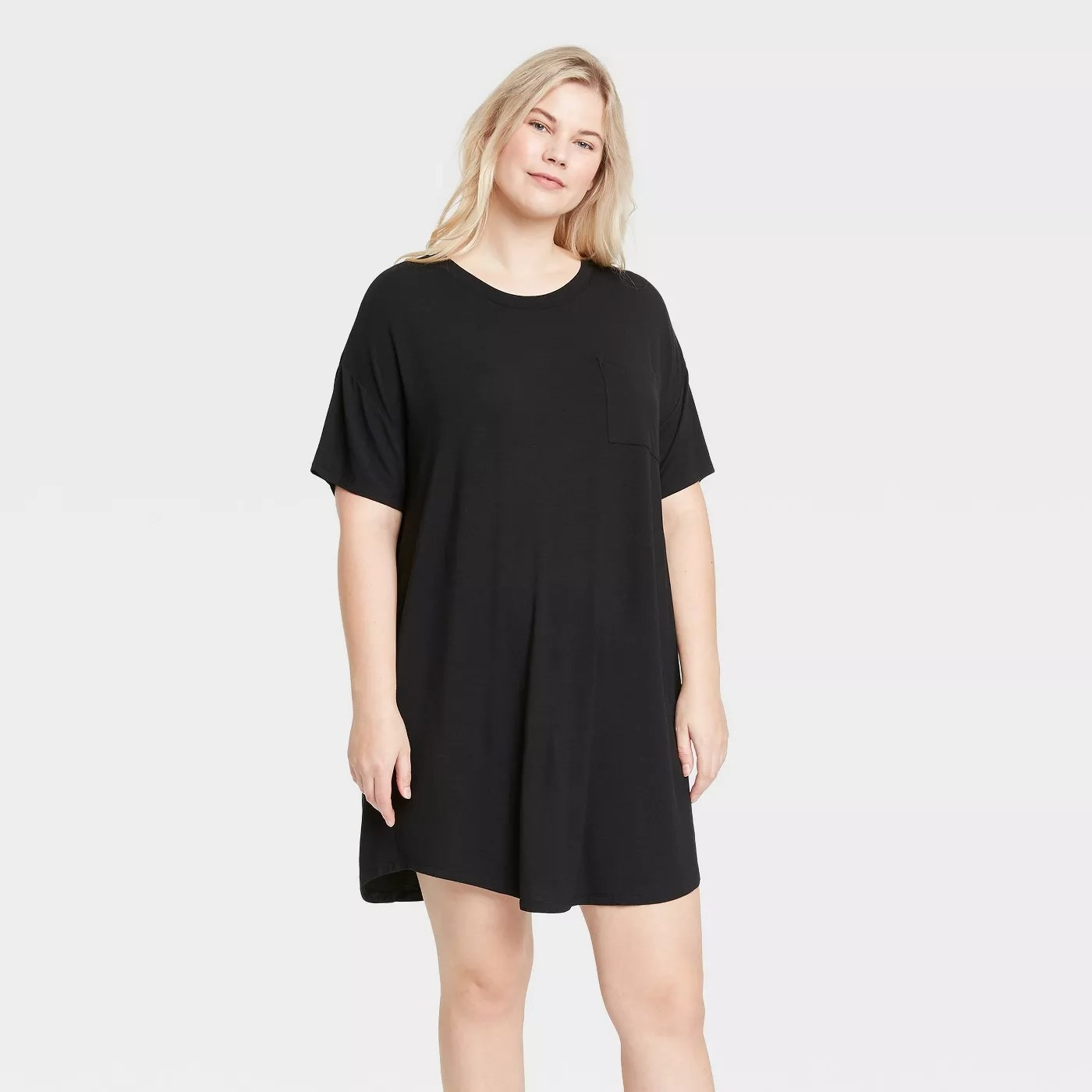 The black T-shirt dress