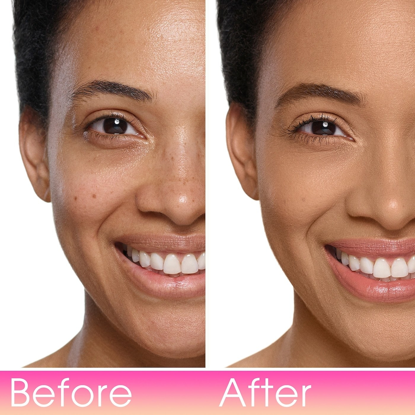 model before/after showing full coverage after applying foundation