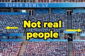 A sea of cardboard cutouts at the Super Bowl stadium with the caption