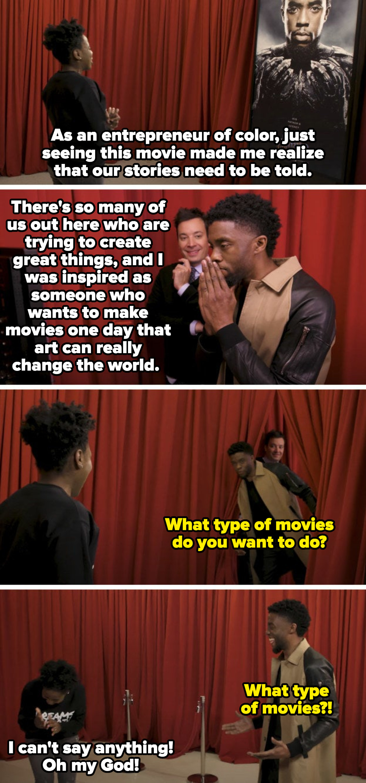 "Chadwick Boseman surprising a ""Black Panther"" fan"