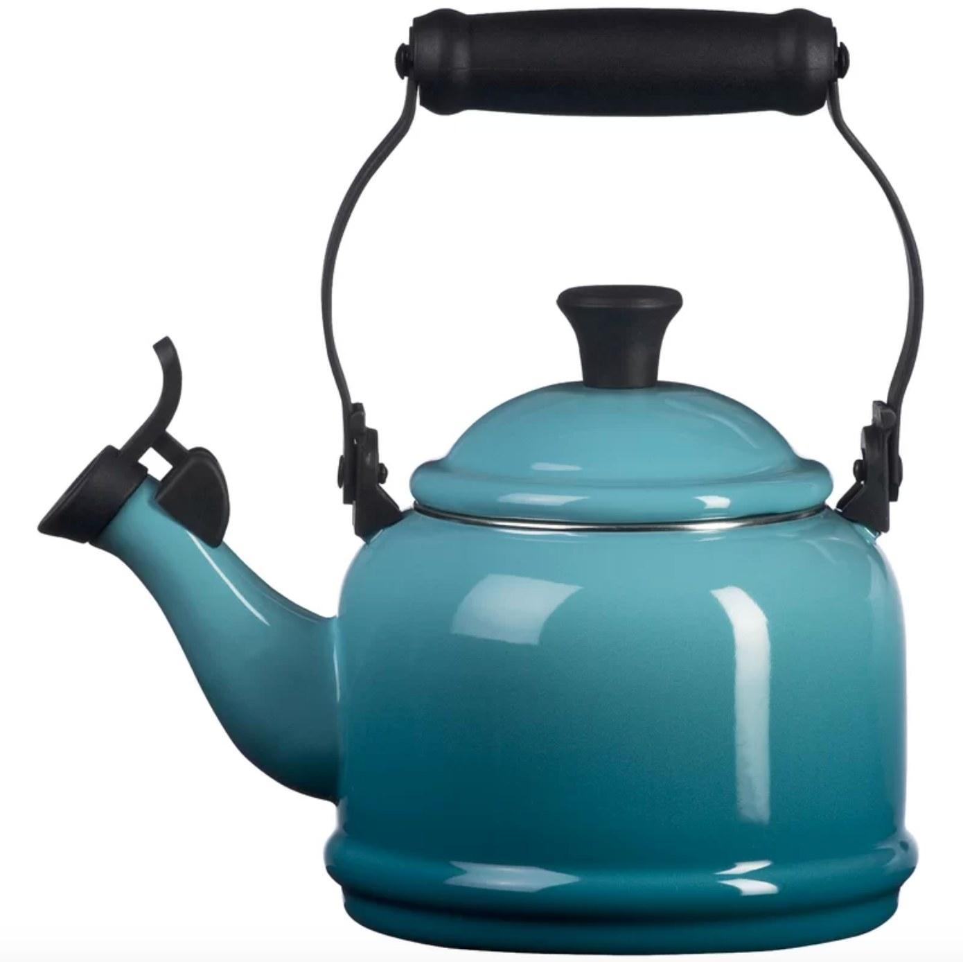 The Le Creuset enamel tea kettle in carribean