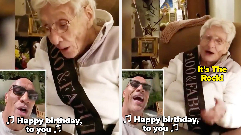 "Dwayne Johnson singing ""Happy birthday"" to his 100-year-old fan"