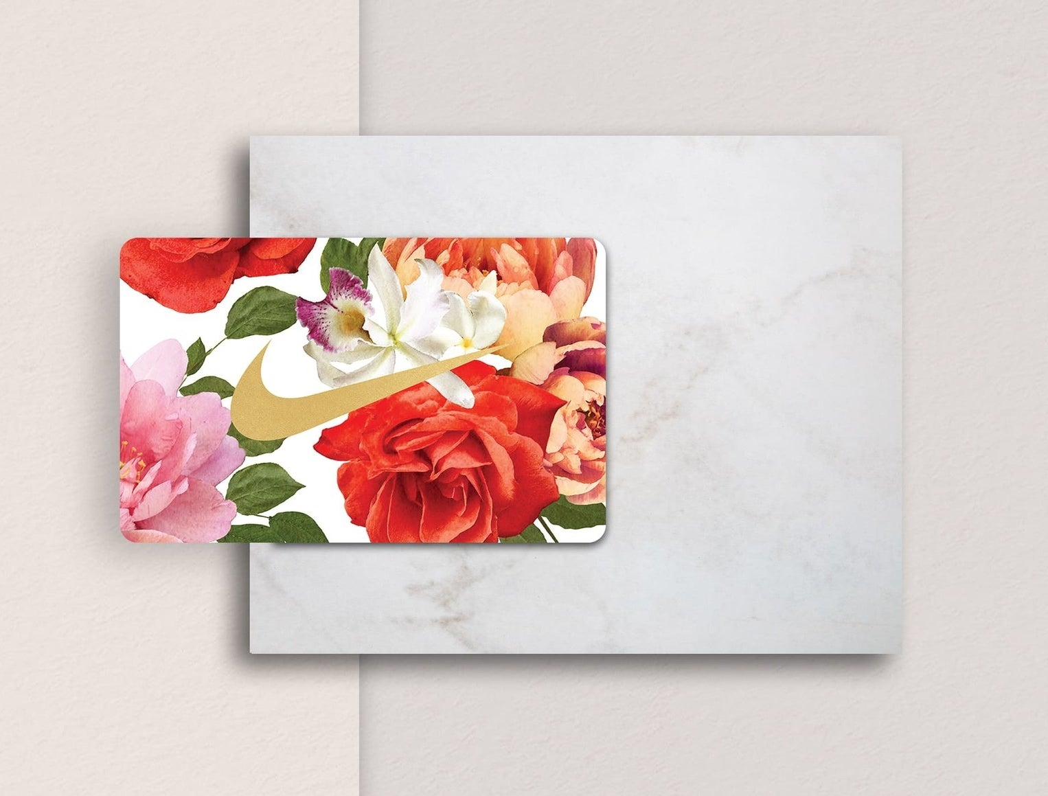 A floral Nike gift card