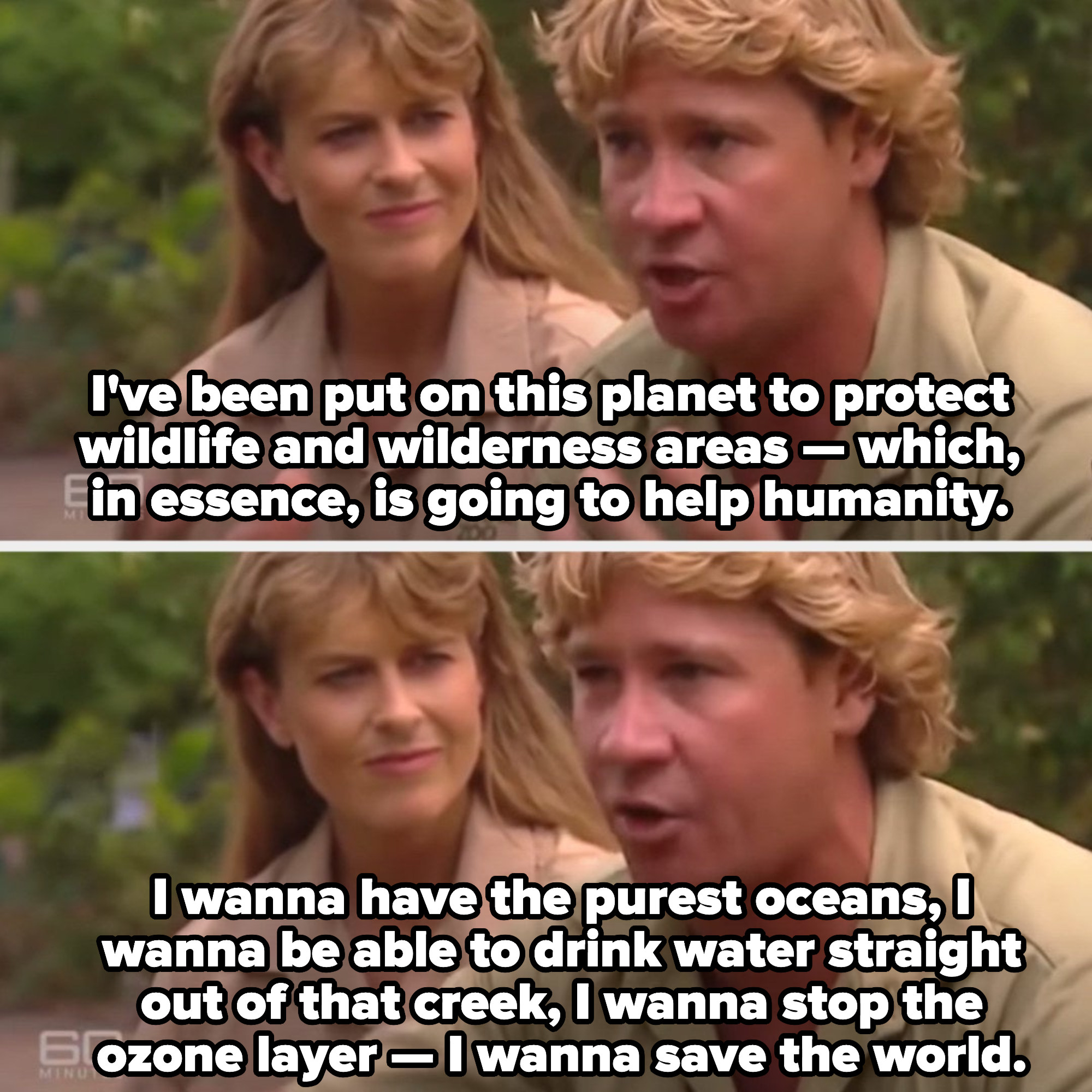 """Steve Irwin on """"60 Minutes,"""" describing how he wants to clean the earth and make it a better place"""