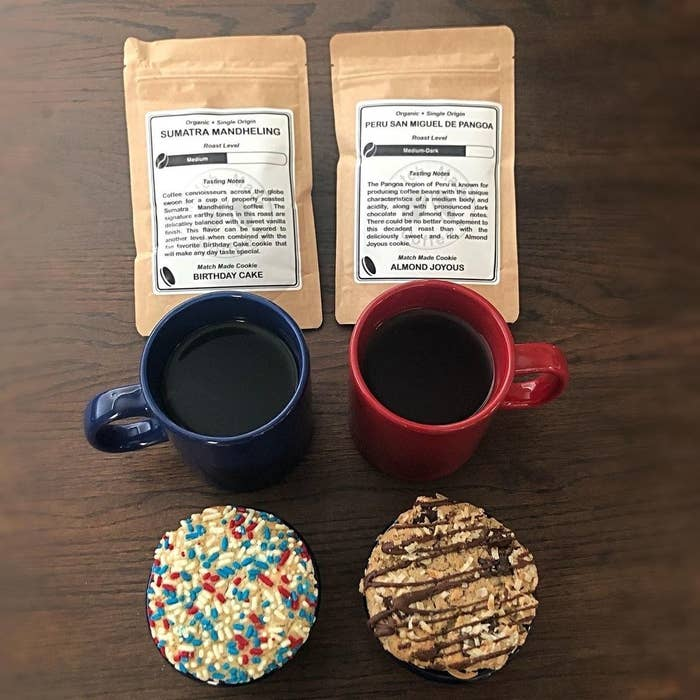 two cups of coffee and two cookies