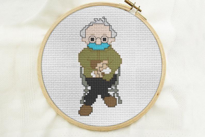 Bernie Sanders completed cross stitch kit