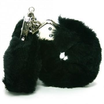 Quick-release handcuffs covered in black fur
