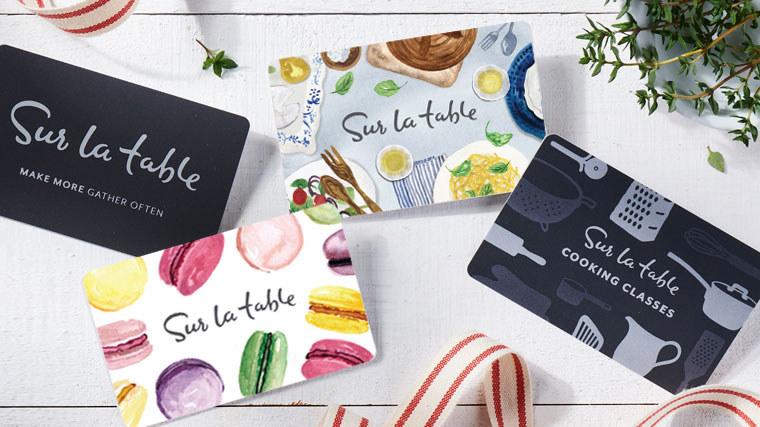 Four different Sur La Table gift card designs