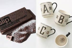 L: Pink leopard-print silk sleep mask R: Tiled monogram mugs