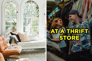 "On the left, a sunny living room with arched windows, a chaise, and an armchair, and on the right, a couple smiling at each other in between the clothing racks labeled ""at a thrift store"""