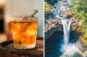 cocktail and hawaiian waterfall