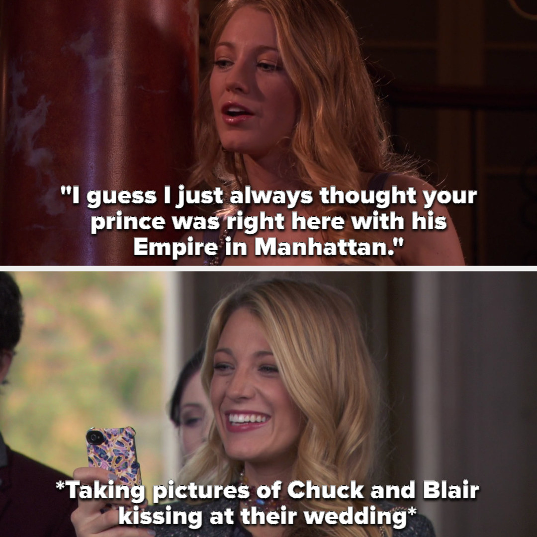 Serena tells Blair she always thought her prince was right there with his Empire in Manhattan, and then takes pictures of them kissing at their wedding