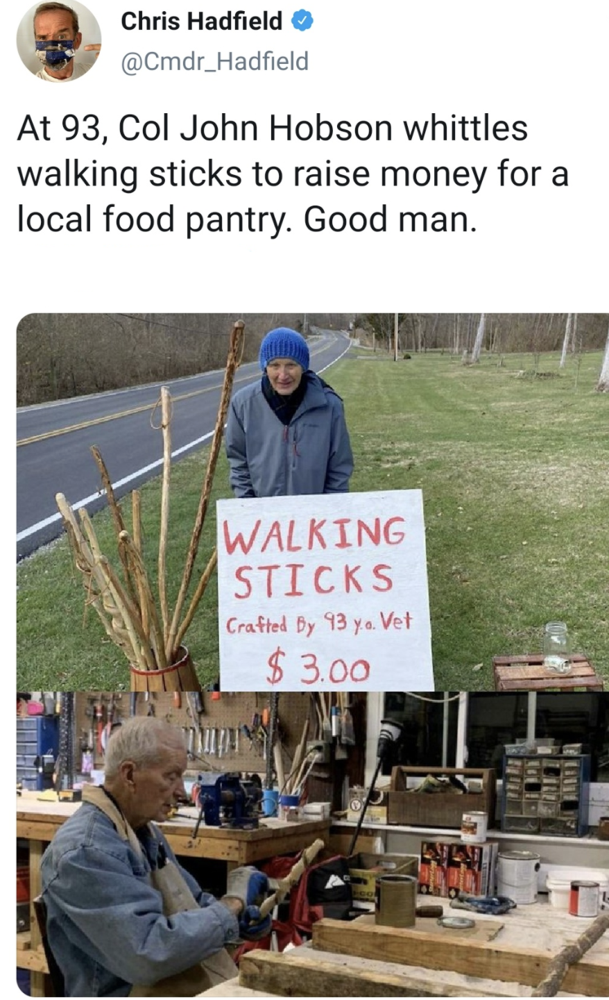 tweet about a veteran who sells walking sticks for charity