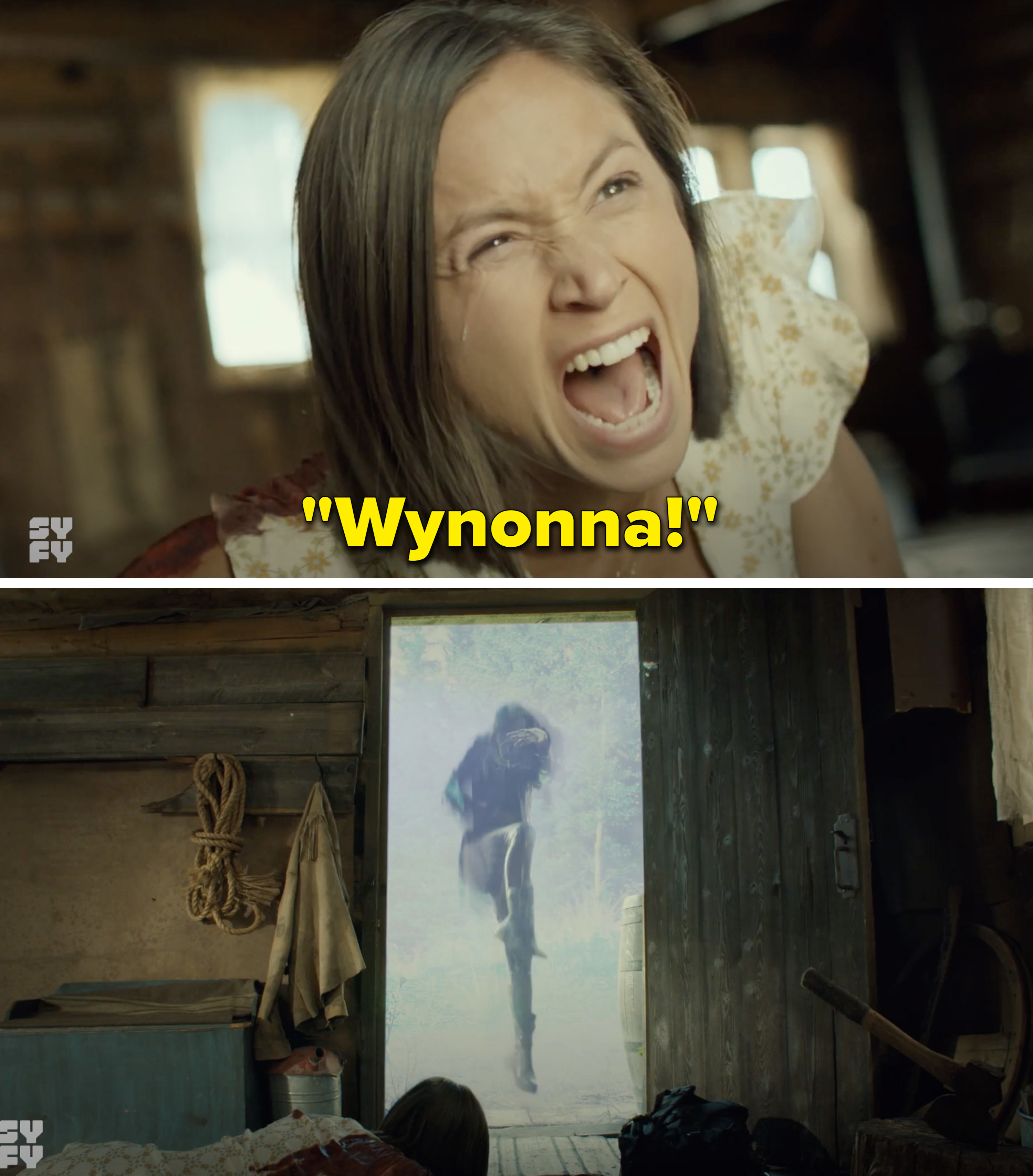 "Waverly screaming, ""Wynonna"" and Wynonna flying out a door"