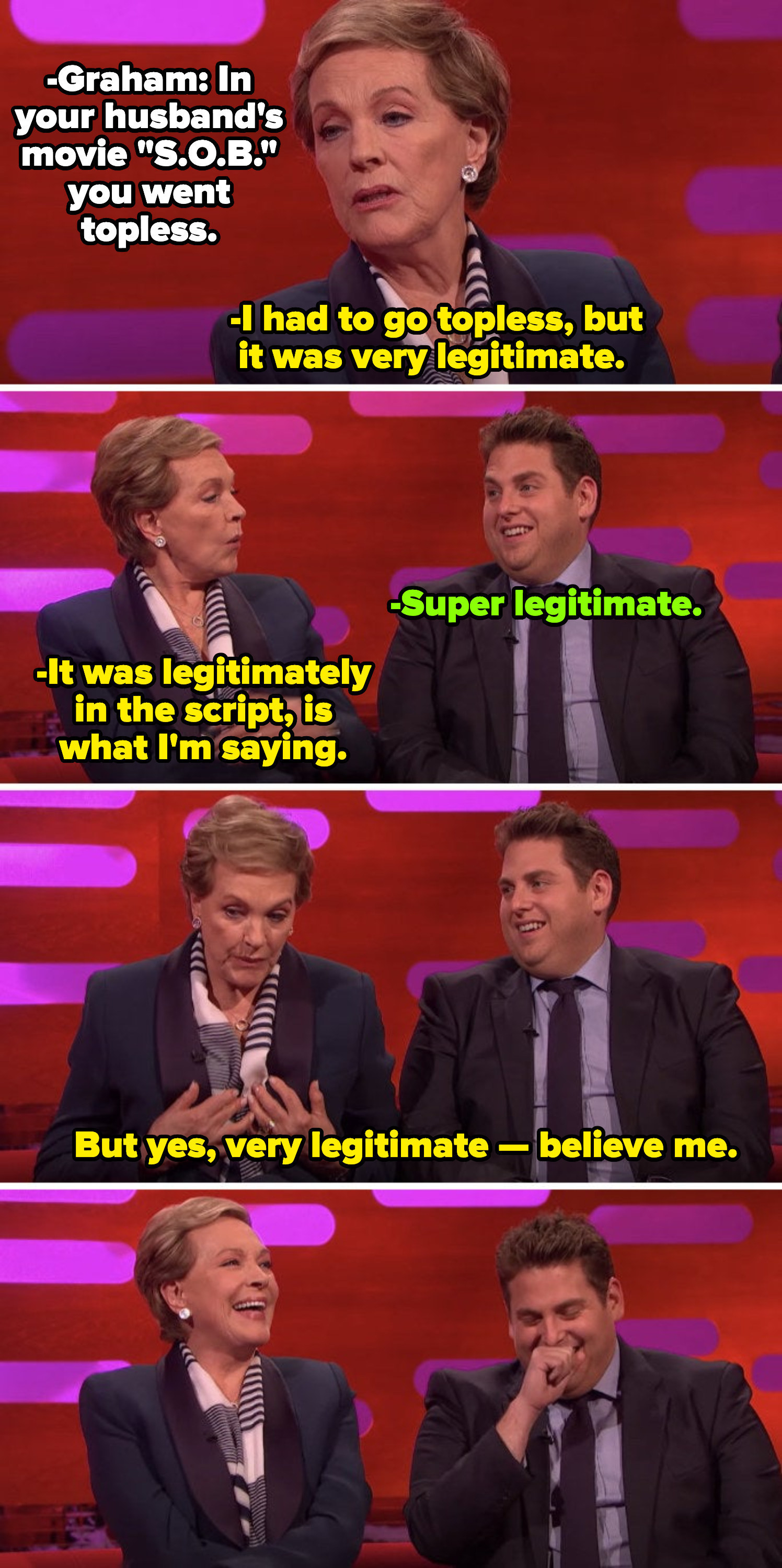 """Julie Andrews talking about going topless in a movie on """"The Graham Norton Show"""""""