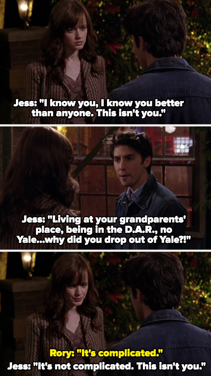 Jess confronts Rory about why she dropped out of Yale, says he knows her better than anyone and this isn't her
