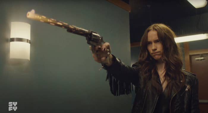 Wynonna pointing Peacemaker