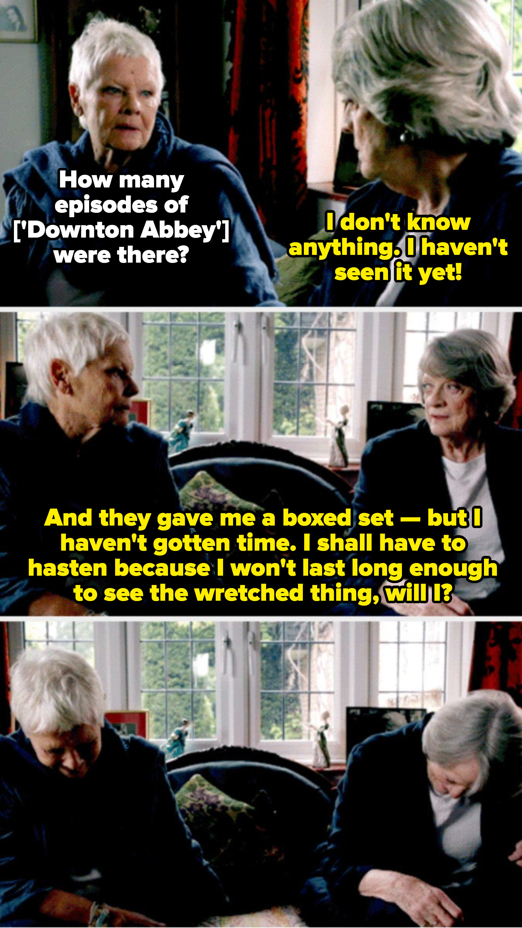 """Judi Dench asking Maggie Smith if she's ever seen """"Downton Abbey"""""""