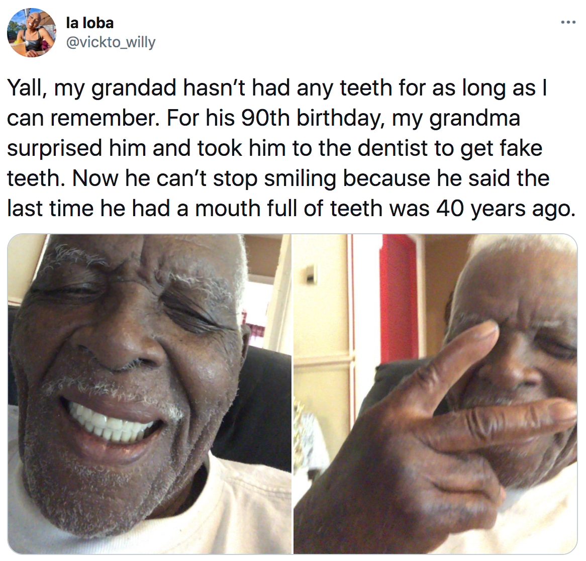 grandpa that got new teeth and is smiling for the first time in 40 years