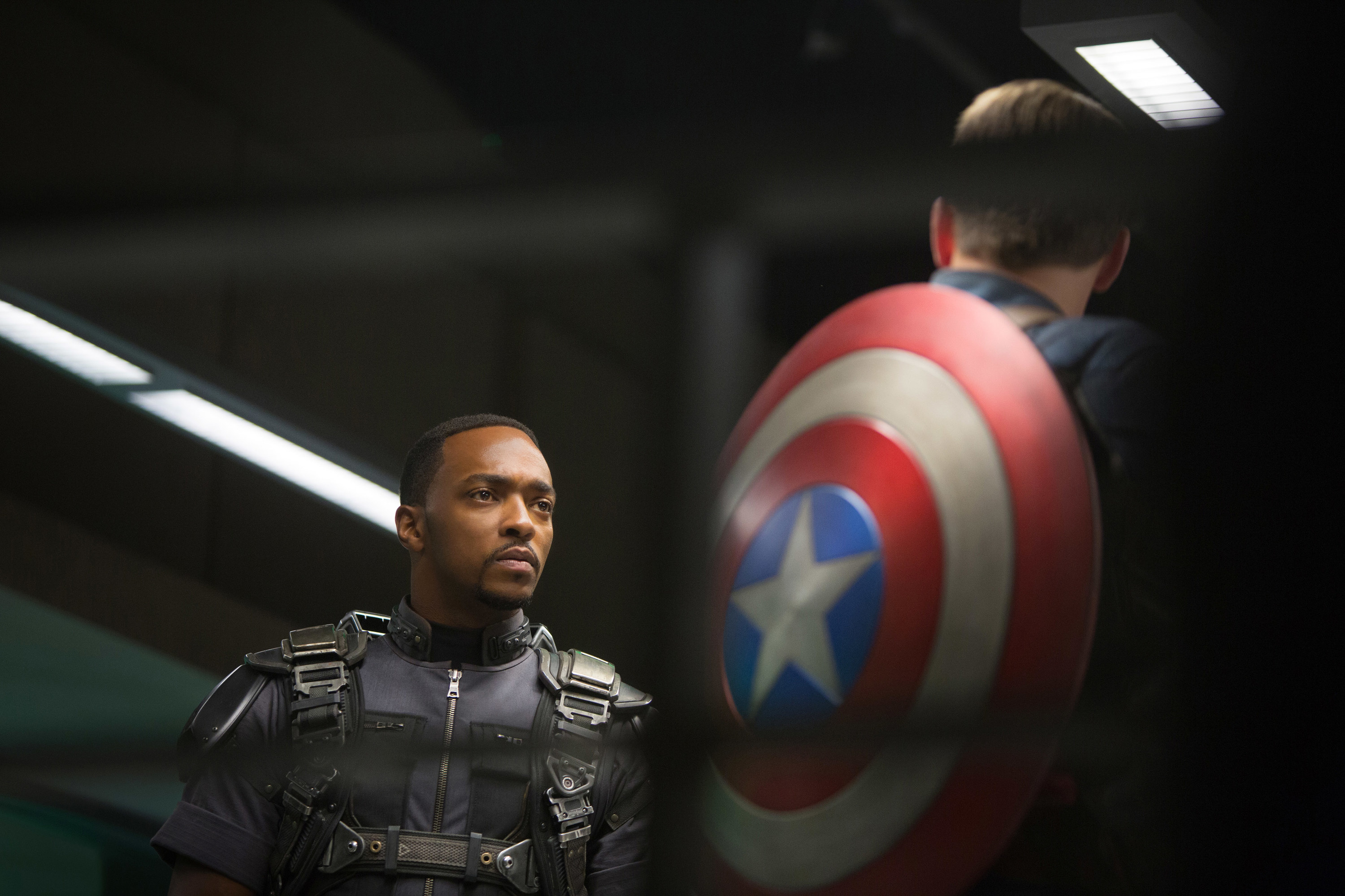 Mackie looks at Captain America in Captain America: The Winter Soldier