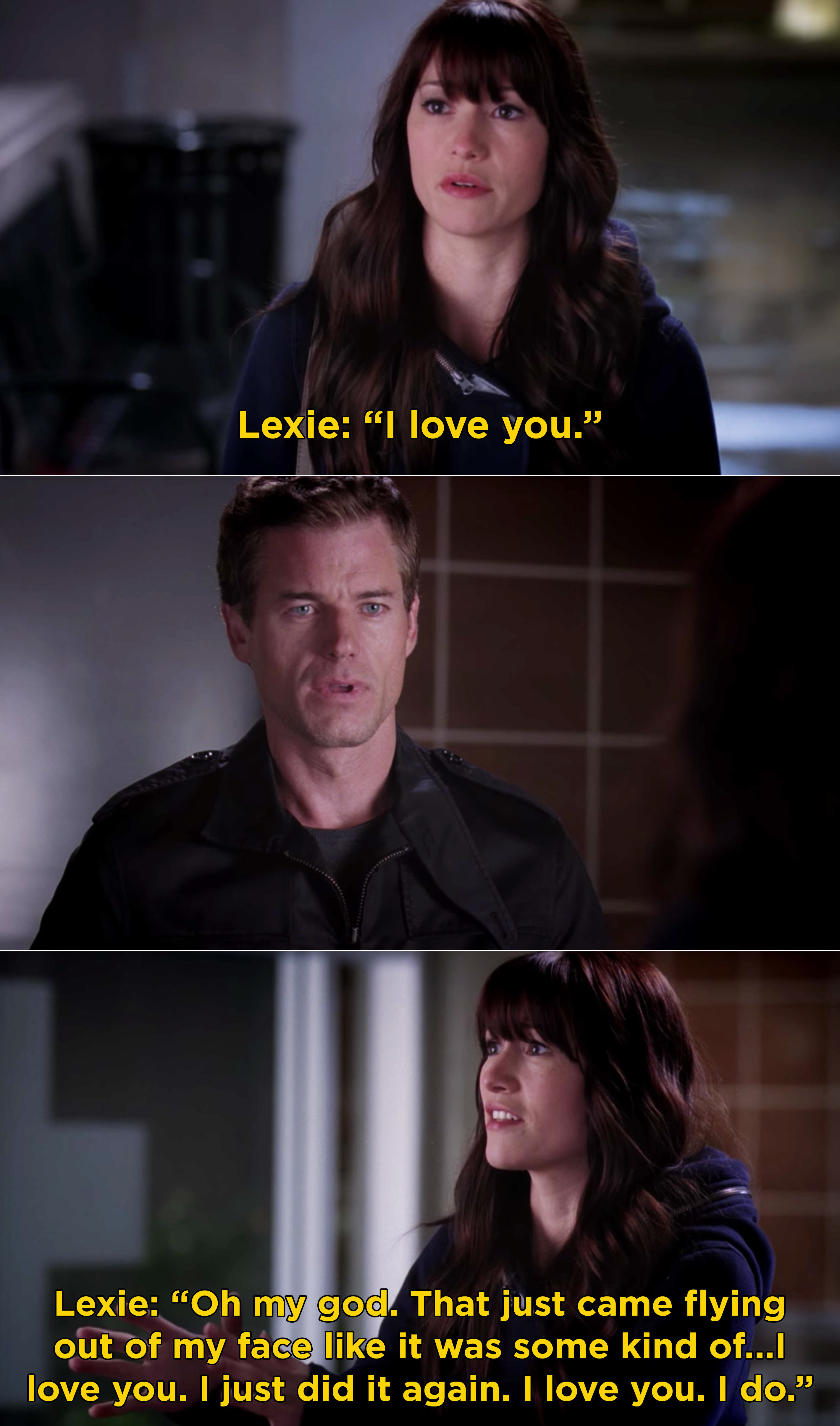 Lexie telling a stunned Mark that she loves him and she can't stop saying it