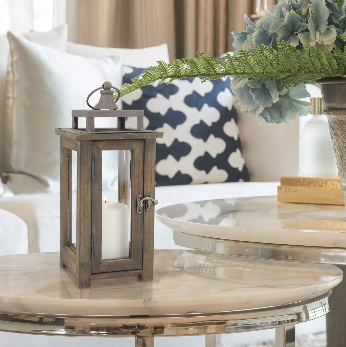 The wood lantern on a table