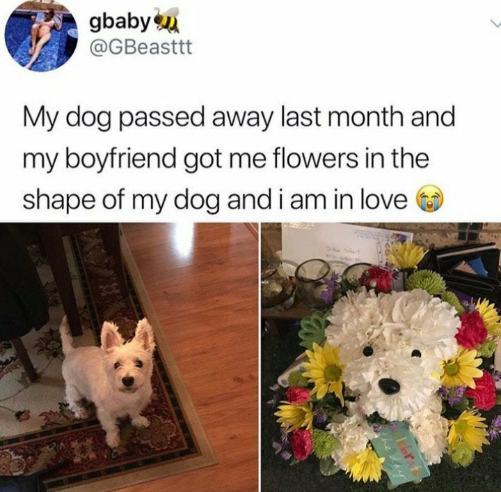 bouquet of flowers in the shape of a dog who died