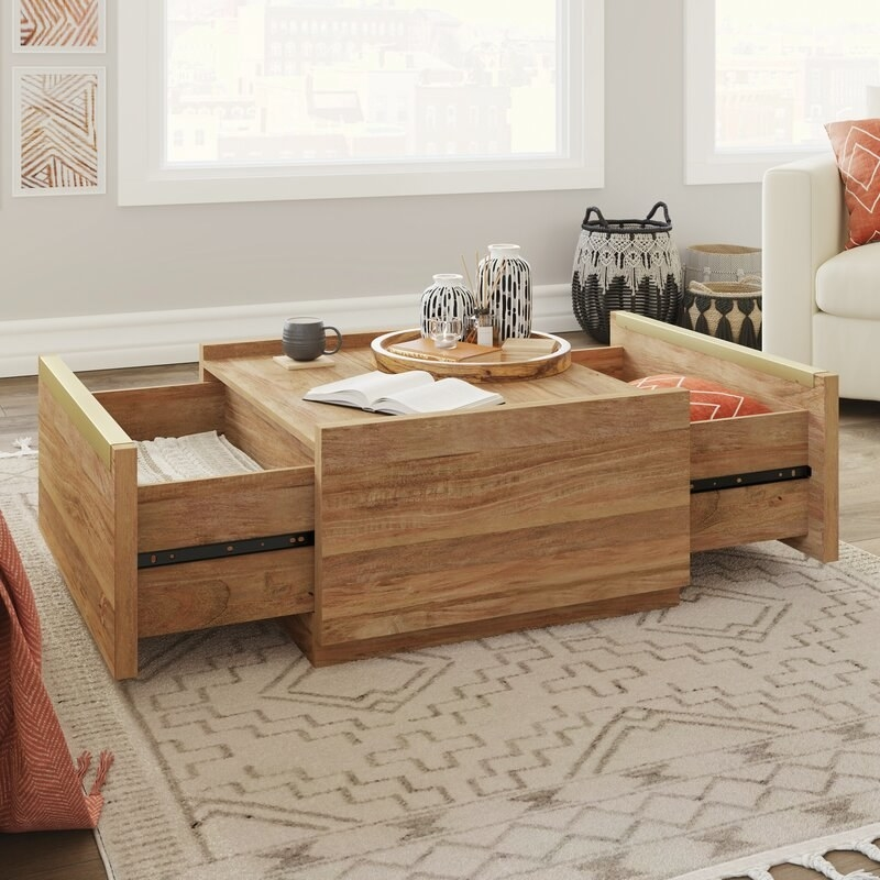 The square coffee table which has two pullout drawers