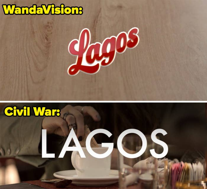 The WandaVision Lagos logo and the Lagos location card with Wanda's hand in the background