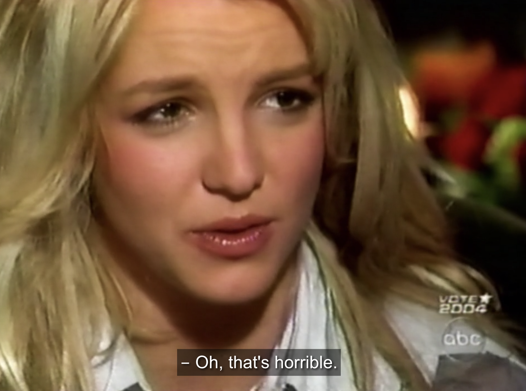 """Britney, clearly hurt, saying, """"oh, that's horrible"""""""