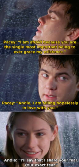 Pacey calls Andie the most important being to ever grace his existence, says he's falling hopelessly in love with her