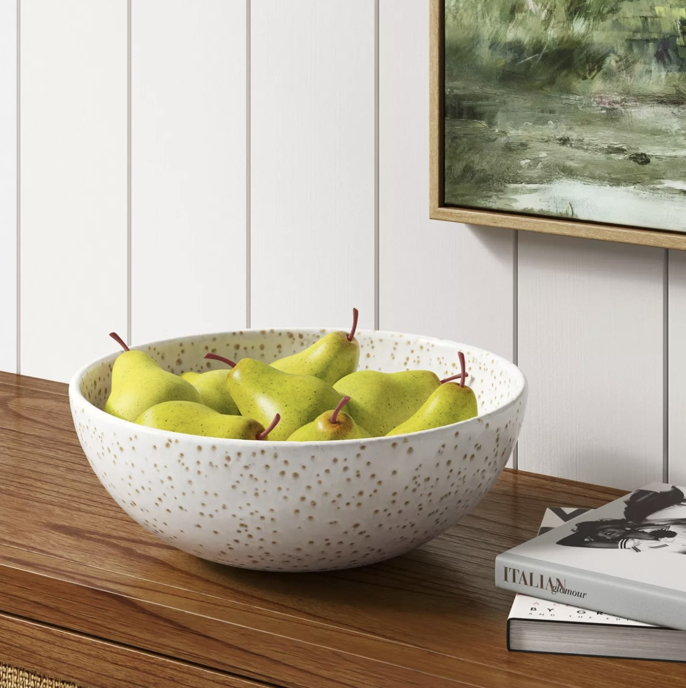 A bowl of artificial pears