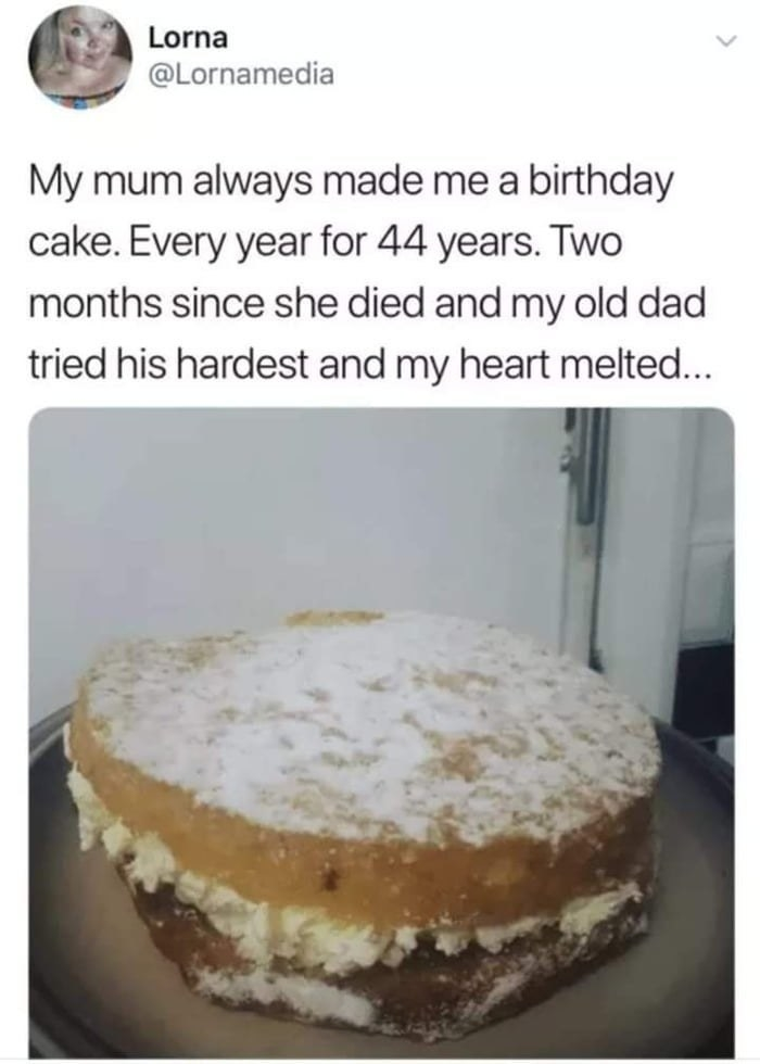 tweet about a dad making a cake for the first time in his dead wife's memory