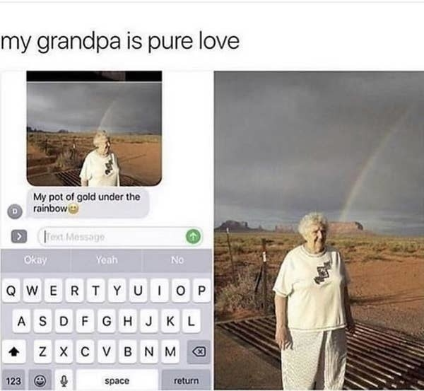 text of a grandma under a rainbow that says my pot of gold