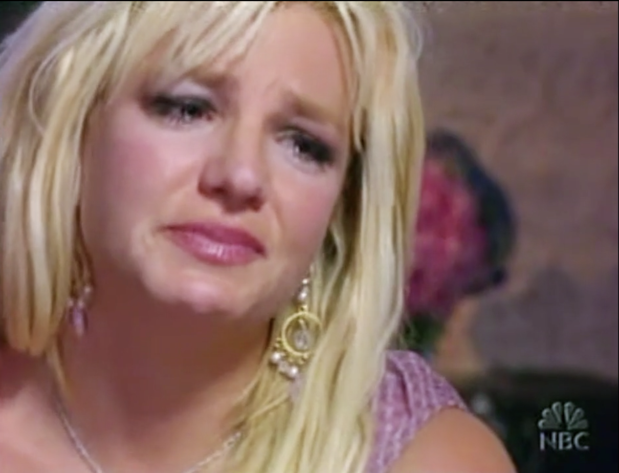 Britney crying during an interview with Matt Lauer