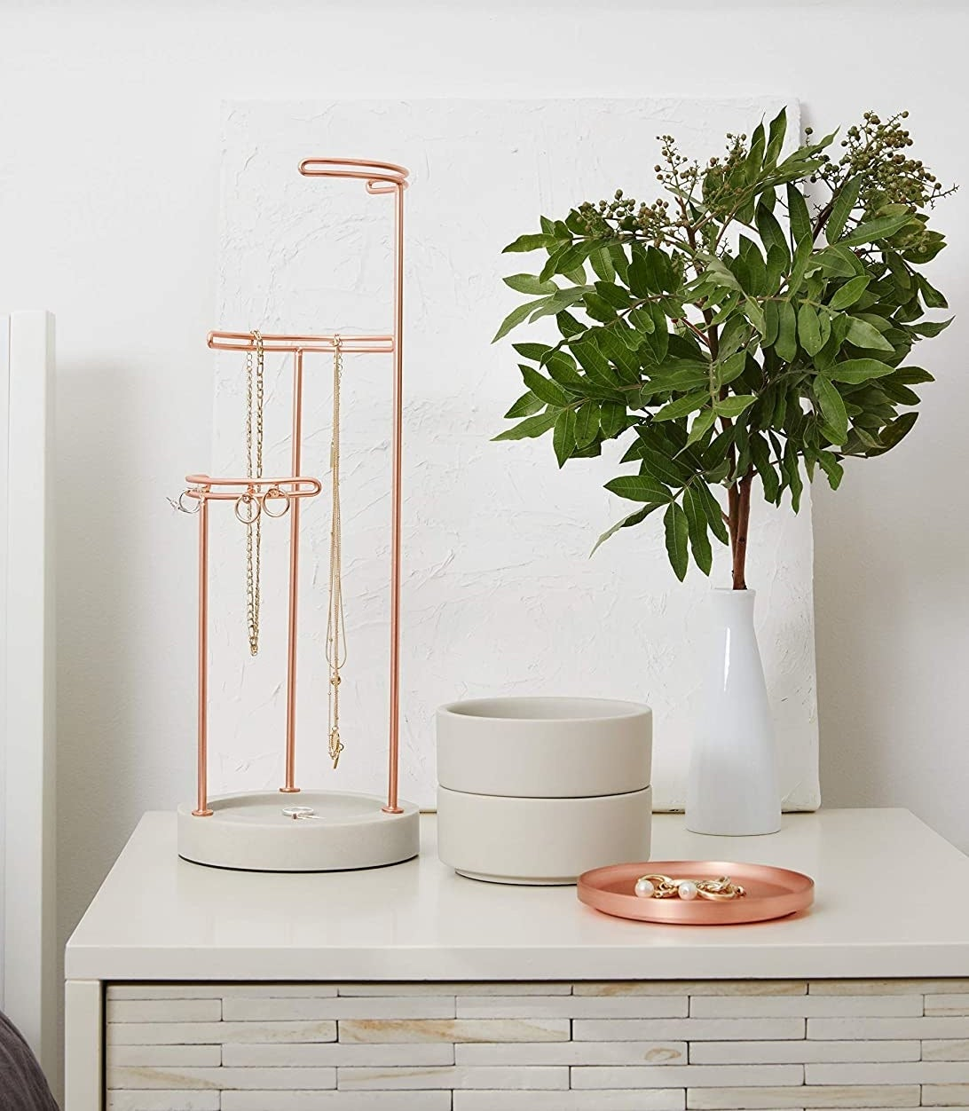A jewelry holder on a desk next to a plant